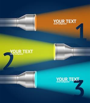 Luce e testo della torcia tascabile. opzioni