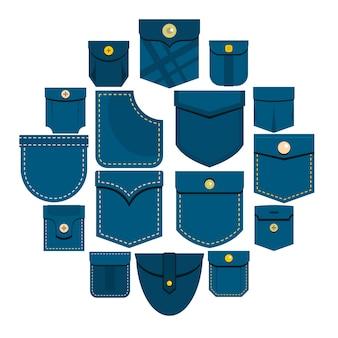 Icone di tipi tascabili impostate in stile piano