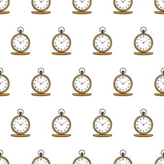 Modello senza cuciture di tempo dell'orologio da tasca. illustrazione del tema dell'orologio in oro antico