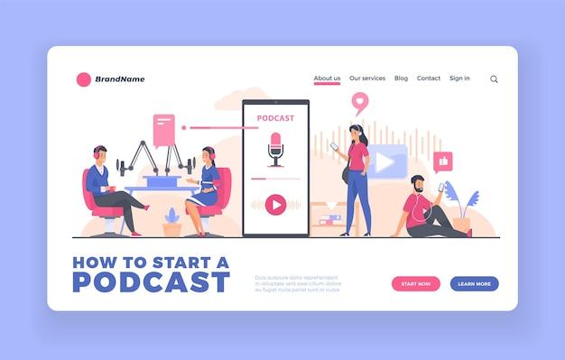 Pagina di destinazione pubblicitaria podcast o modello di poster