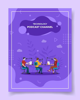 Canale aziendale podcast per modello di volantino