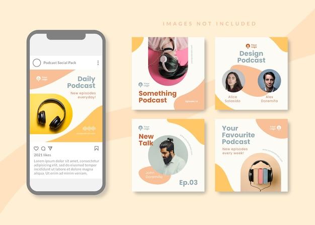 Podcast modello di social media quadrato pulito e semplice