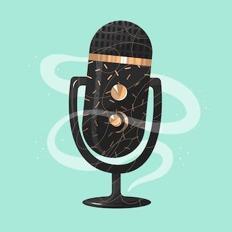 Concetto di podcast conversazione audio con microfono d'oro parla di contenuti parlati di monologo vector