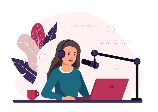 Illustrazione di concetto di podcast con podcaster femminile che parla al microfono