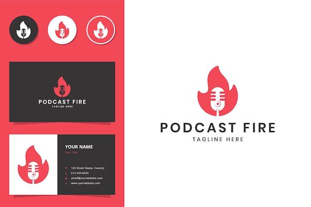 Podcast fire design logo spazio negativo