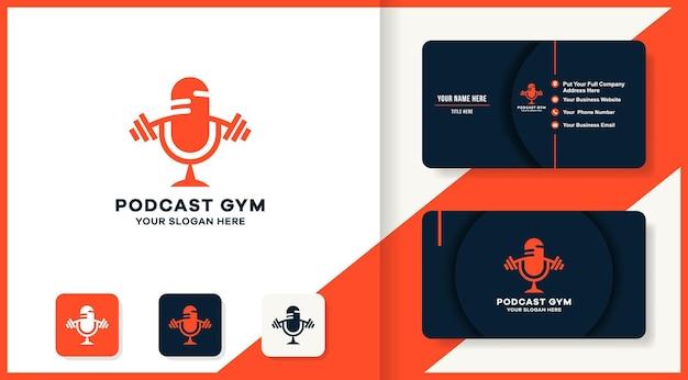 Design del logo fitness del podcast e design del biglietto da visita