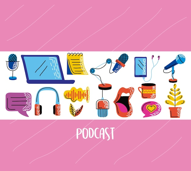 Gruppo di icone podcast