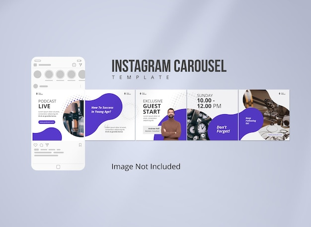 Podcast instagram carousel banner modello di social media