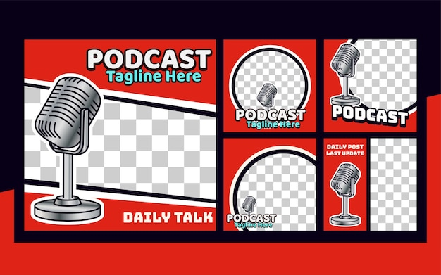 Podcast instagram post set modello di raccolta