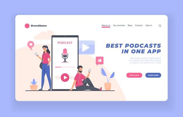 Concetto di audiolibro di formazione online di webinar per ascoltatori di podcast