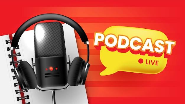 Podcast live flyer banner modello di social media Vettore Premium