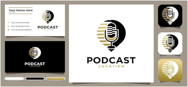 Design del logo della posizione del podcast design del logo della chat del microfono del podcast logo della radio con microfono