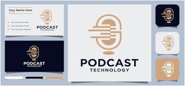 Design del logo del podcast design del logo della chat del microfono del podcast logo della radio con microfono