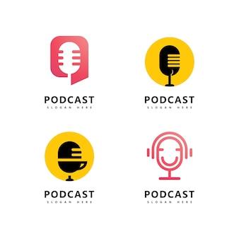 Podcast logo icona design vector template simboli microfono