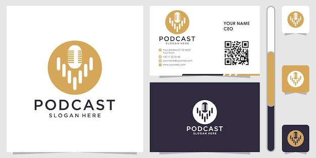Logo podcast con biglietto da visita design vettoriale premium