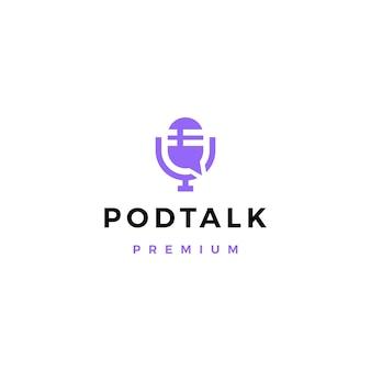 Podcast mic talk chat bubble logo
