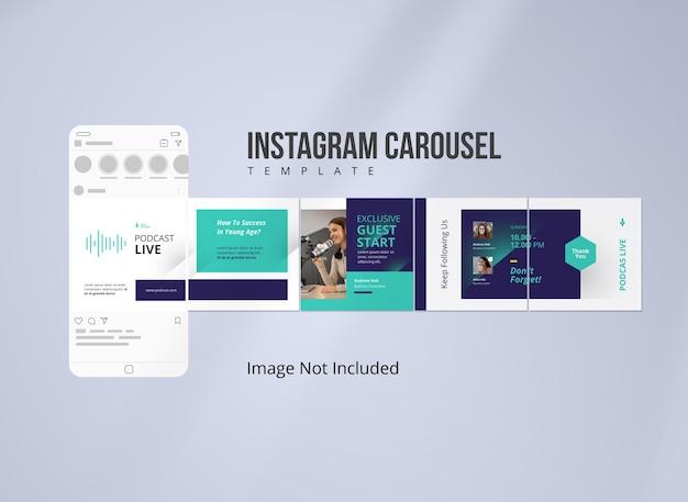 Podcast musica instagram carousel post template