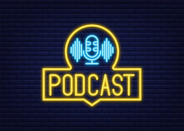 Icona al neon di podcast. distintivo, icona, timbro, logo. icona al neon. illustrazione di riserva di vettore.