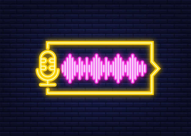 Icona al neon di podcast. distintivo, icona, timbro, logo. illustrazione di riserva di vettore.