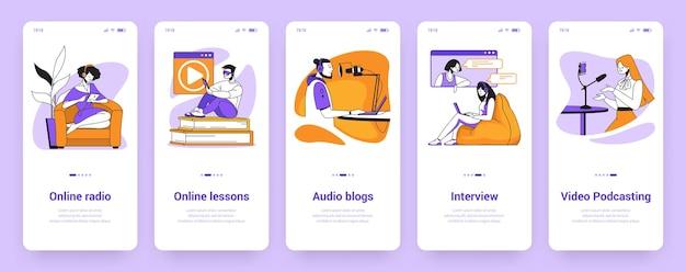 Schermate di onboarding dei podcast. formazione online e lezioni video, radio musicale e banner di autoeducazione