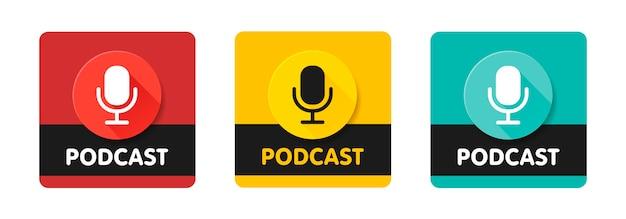Insieme dell'illustrazione dell'icona della radio di podcast. microfono da tavolo da studio con testo trasmesso. logo di concetto di registrazione audio webcast.