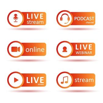 Insieme di marchio di podcast o radio. icone sfumate e pulsanti di trasmissione.