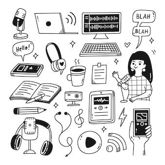 Podcast oggetto correlato kawaii doodle illustrazione vettoriale