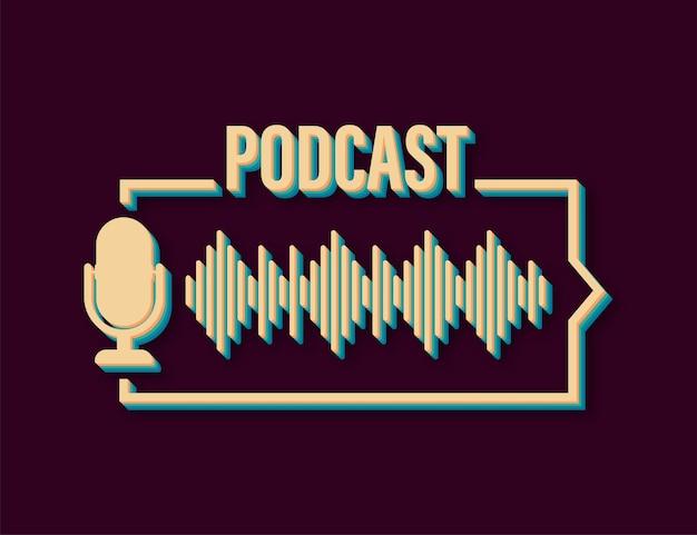 Icona di stile retrò podcast. distintivo, icona, timbro, logo. illustrazione di riserva di vettore.