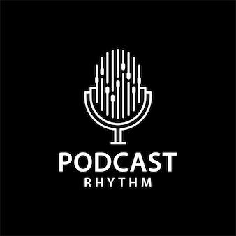 Modello di progettazione dell'illustrazione del logo del ritmo del podcast
