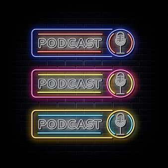Podcast set insegna al neon simbolo al neon Vettore Premium