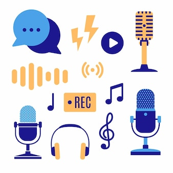 Spettacolo in podcast. illustrazione di cartone animato piatto con diversi elementi di podcast.