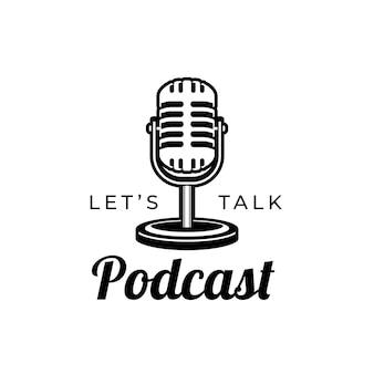 Podcast o cantante karaoke con microfono retrò elemento di design per il segno dell'emblema dell'etichetta del logo