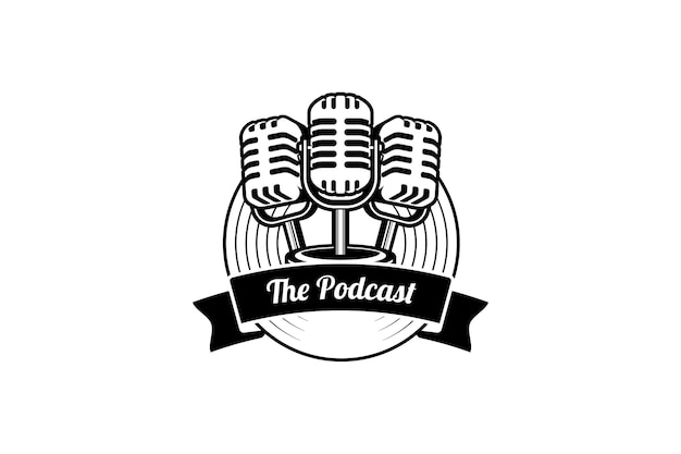 Podcast o logo cantante karaoke vocale con microfono retrò e icona in vinile.