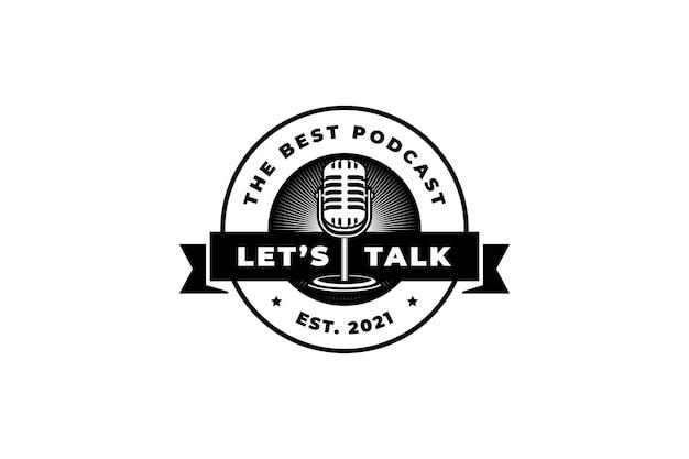 Karaoke del cantante della stazione di podcast con il retro microfono elemento di design per logo, etichetta, emblema, segno.