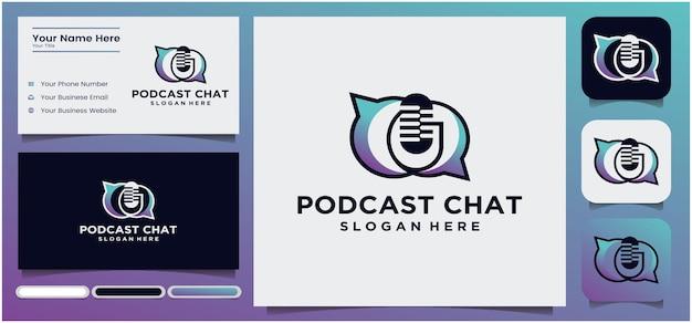 Podcast talk logo design podcast microfono chat logo design radio logo con microfono