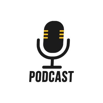 Podcast. piatto di vettore, icona, logo design su priorità bassa bianca.
