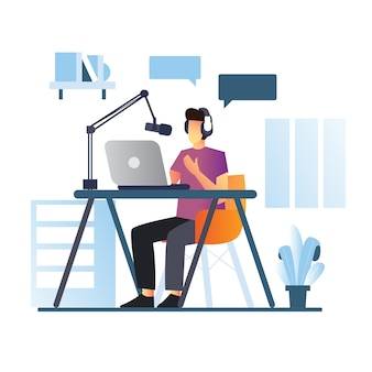 Podcast youtuber uomo concetto di streaming