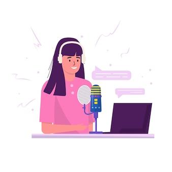 Podcaster con cuffie che ascoltano e registrano podcast audio, illustrazione piatta vettoriale di spettacolo online. giovane donna con microfono e auricolare che studia, ascolta podcast, trasmette. concetto di podcast