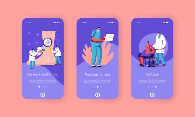 Modelli di schermata della pagina dell'app per dispositivi mobili podologia, trombosi venosa.