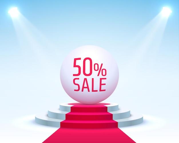 Podium 50 sale con percentuale di sconto sulle azioni. illustrazione vettoriale
