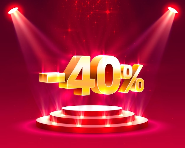Azione sul podio con percentuale di sconto quota 40. illustrazione vettoriale