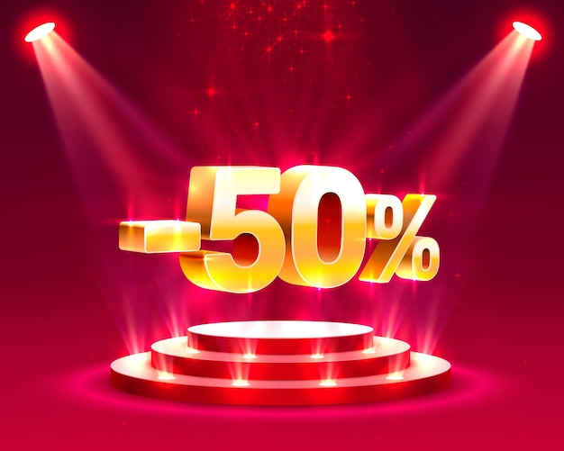 Azione sul podio con percentuale di sconto quota 50. illustrazione vettoriale