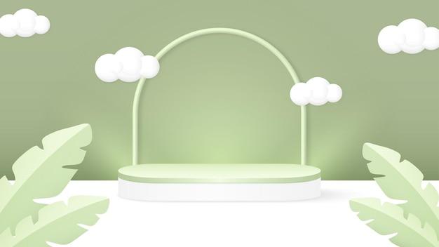 Sfondo del podio con foglie e nuvole