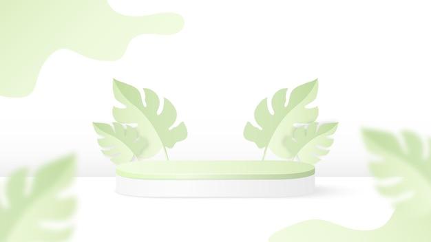 Sfondo podio con foglie