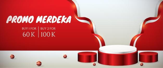 Insegna 3d dell'esposizione del podio per il 17 agosto di giorno dell'indipendenza dell'indonesia con la bandiera rossa e bianca