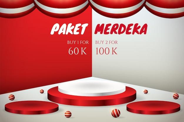 Insegna 3d dell'esposizione del podio per il giorno dell'indipendenza dell'indonesia il 17 agosto