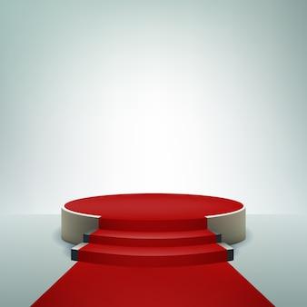 Sfondo display podio con tappeto rosso