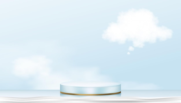 Espositore per podio in blu e oro giallo supporto cilindrico con nuvola soffice, realistico per piattaforma piedistallo da palco, presentazione del prodotto, esposizione di prodotti cosmetici o vetrina spa