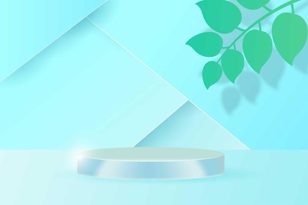 Podium display prodotti cosmetici estivi banner, stile realistico minimalista.