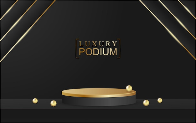 Prodotto espositore da podio e sfondo nero in stile lusso oro con scena scintillante